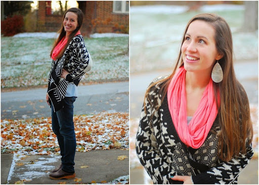 Tribal sweater, Pink scarf