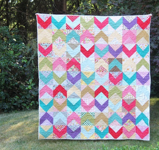 Scrappy Chevron Quilt, Cluck Cluck Sew