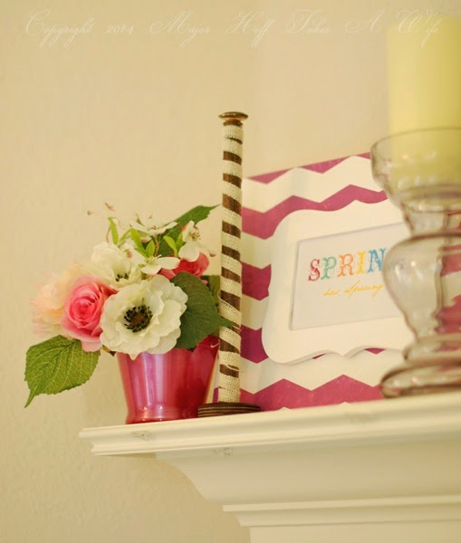 Spring Artwork on mantel pantone color of the year