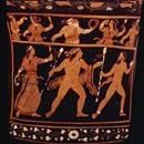 Crátera de figuras rojas, pintor de Asteas - ca. 340 a.C. - Paestum Museum  (detalle de la cara B- Dionysos con satiros y menades