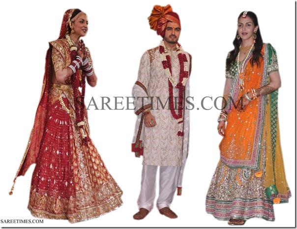 Esha_Deol_Wedding_Mehendi_Sarees