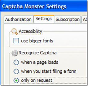 Captcha Monster settings