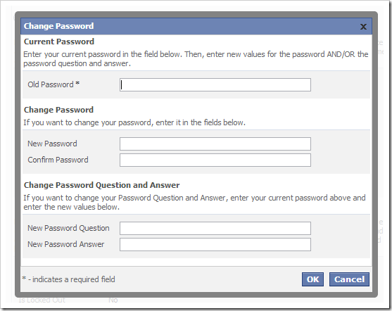 The Change Password modal confirmation form.