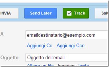 Right Inbox  pulsanti Send Later e Track