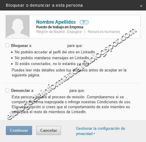 bloquear o denunciar usuario linkedin