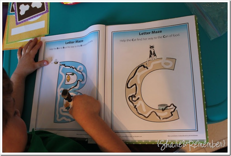 Preschool Activity Trays - Letter Mazes
