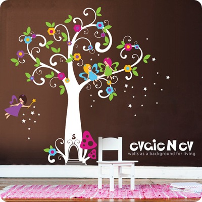 fairy tree wall art decal