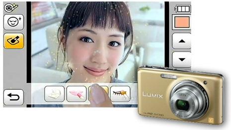 Câmera digital aplica maquiagem
