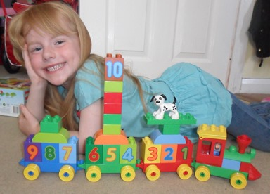 Miss B and her Lego Duplo Number Train
