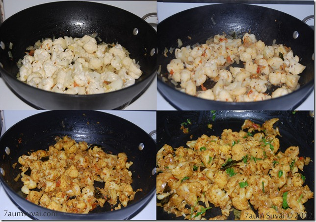 Cauliflower pepper fry process