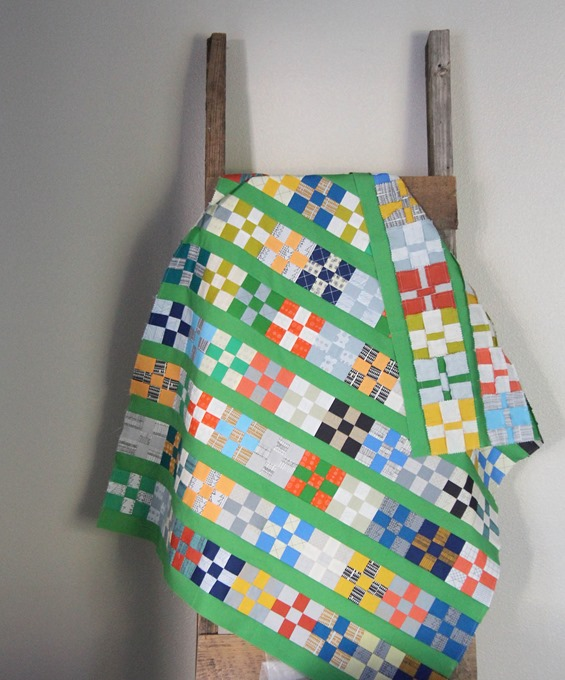 Grassy Doe quilt top, charm square block tutorial
