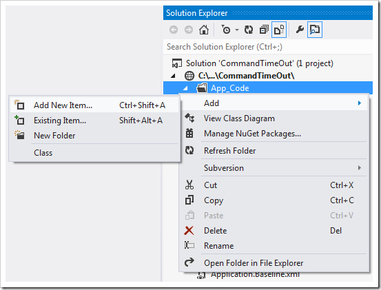 Adding a new item under 'App_Code' folder in the project.