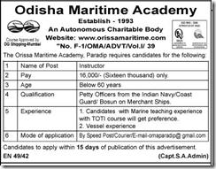 Odisha Maritime Academy - IndGovtJobs