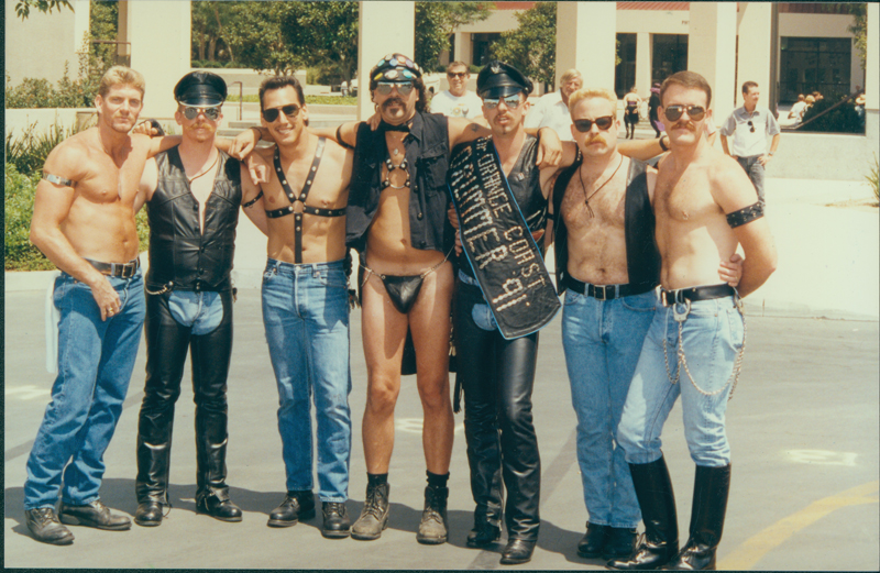 Six leathermen posing at the Orange County Gay Pride Festival. 1991.