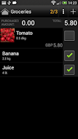 Screenshot of Shopping list license