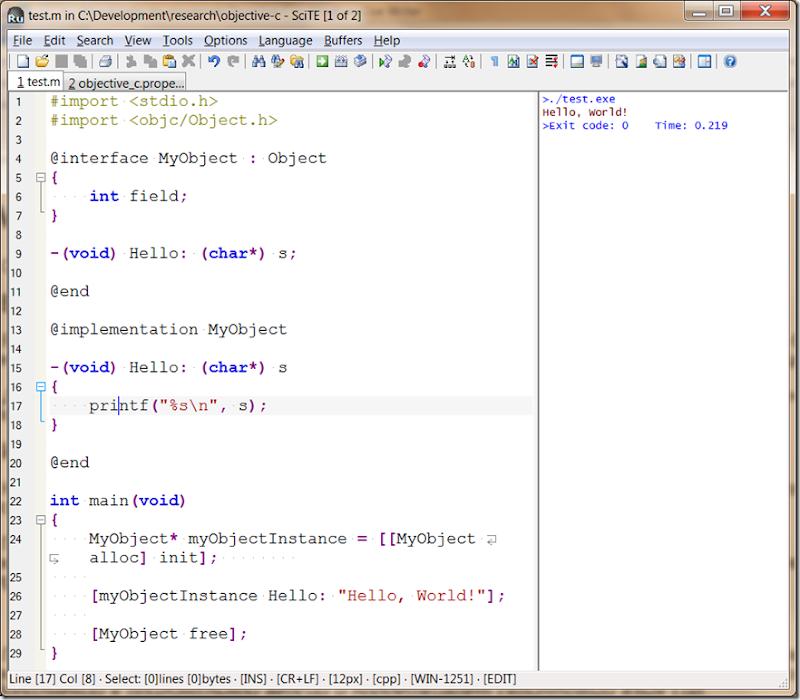 Скриншот: Редактор Scite и программа на Objective C