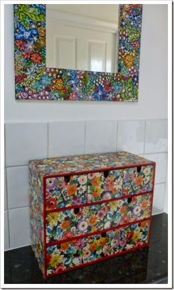 IKea wooden storage drawers.Collier Campbell wrapping paper