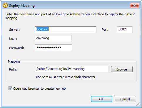 Deploy mapping dialog
