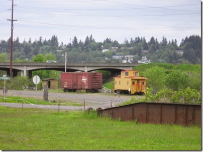 IMG_6463 Milwaukee Road Boxcar #33283 & Union Pacific Caboose #25586 at Chehalis on May 12, 2007
