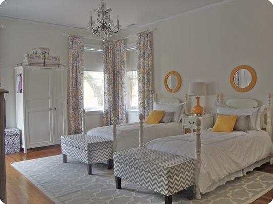 yellow gray purple bedroom