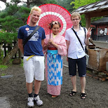 group photo with a Japanese girl and my Russian buddy in Nikko, Totigi (Tochigi) , Japan