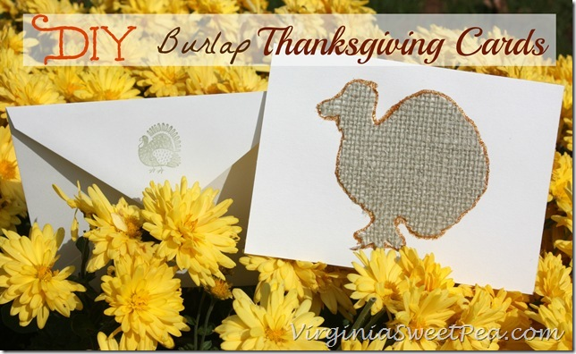 DIY Burlap Thanksgiving Cards