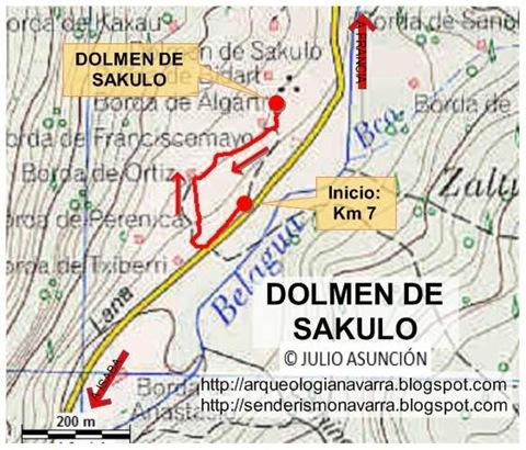 Mapa dolmen de Sakulo