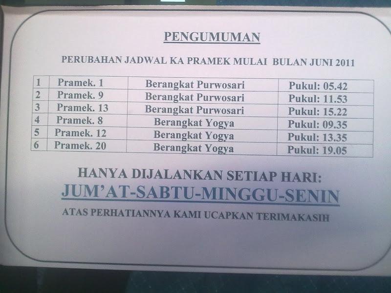 Jadwal Baru Kereta Api Prameks Prambanan Express Juni 2011