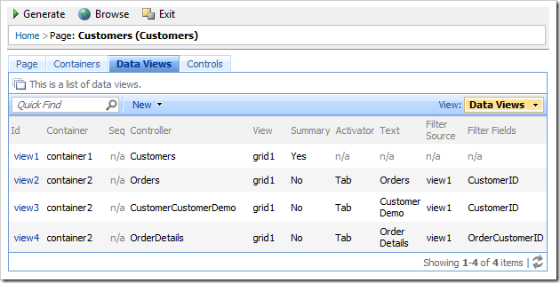 Data Views tab for Customers page in the Project Browser.