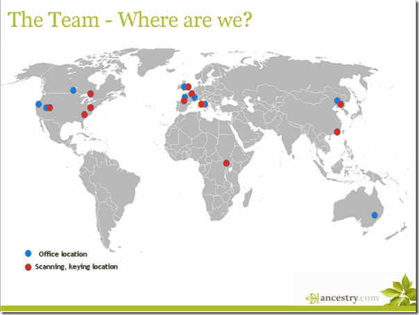 Ancestry.com Worldwide Digitization Operations Map 2009