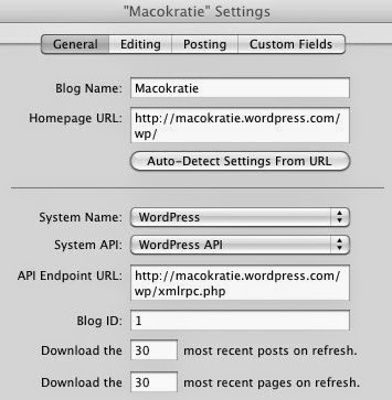 MarsEdit Blog Edit Settings General Tab