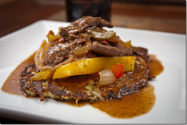 Red Wine Pepper Steak over Asian Potato Pancakes