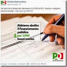 Post del PD sponsorizzato su Facebook
