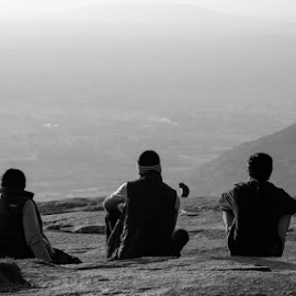 3 Idiots & A Monkey by Naveen Kadam - Novices Only Street & Candid ( b&w, black and white, 3 idiot,  )