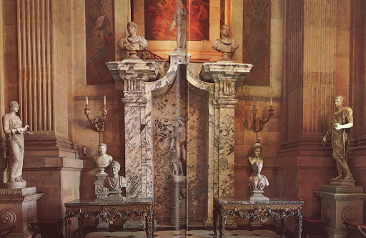 Some Baroque grandeur in Britain, Castle Howard, and gilded Charles II tables and stone pilasters carved in 1705.