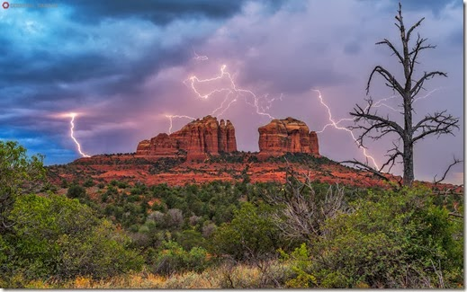 Cathedral Rock Lightning - Sedona, Arizona...Stock id #2569