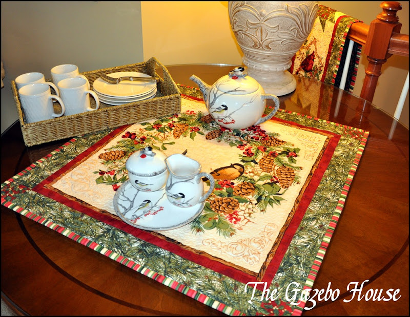 Sewing group with Chickadee quilt & tea set 023