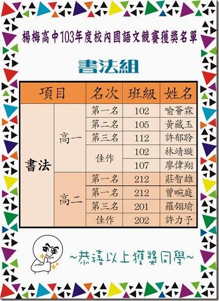 103年度校內國語文競賽獲獎名單-書法組