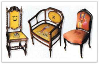 Sillas decoradas con arcanos por el artista Lorenzo Olaverri y el tapicero-restaurador Francisco Alonso