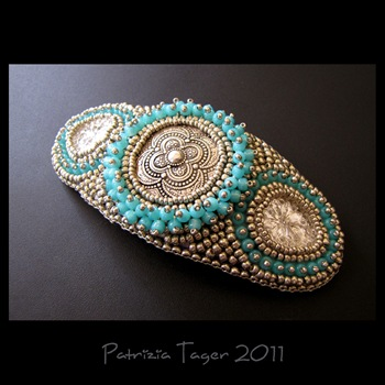 Turquoise & Silver Hair Barrette 01 copy