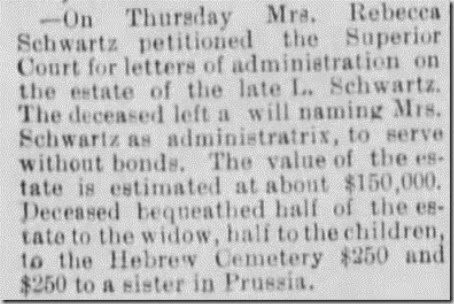Schwartz Louis Estate Santa Cruz Sentinel 2 Jun 1893