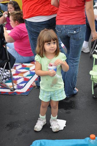 WEBN fireworks - Corinne enjoys her Kona Ice.