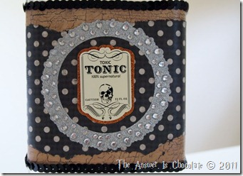 Altered Halloween Bottle Closeup
