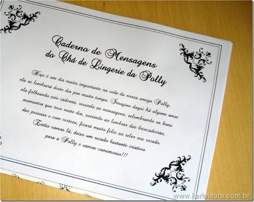 Convite de Chá de Lingerie da Polly e Caderno de Mensagens - Karla ...