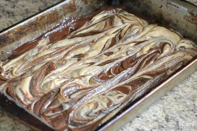 swirl peanut butter and brownie together