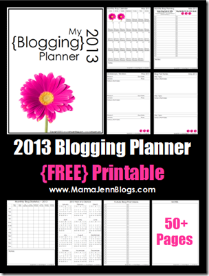 2013 Blogging Planner {FREE Printable} from @MamaJennBlogs