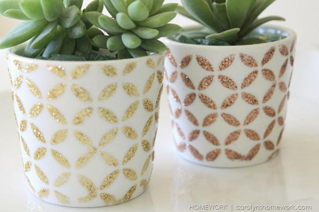 Glitter Succulent Pots via homework | carolynshomework.com