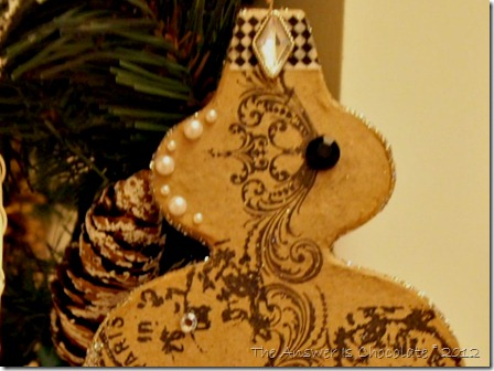 French Script Paper Mache Ornament