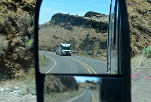 Roger and Nancy behind usDriving Highway 95 northeast of the Steens