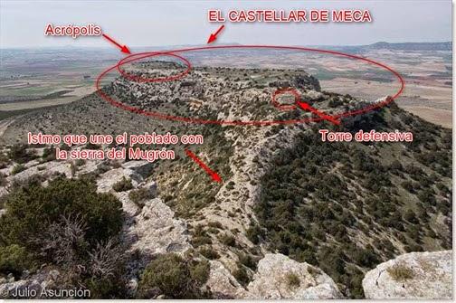 EL castellar de Meca desde la sierra del  Mugrón